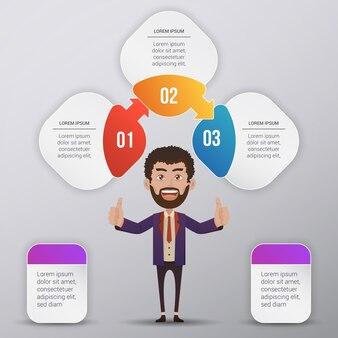 Infografische vorlage design mit business man charakter