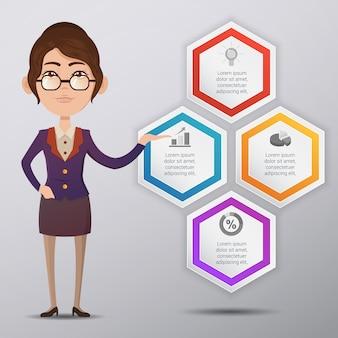Infografische vorlage design mit business woman charakter