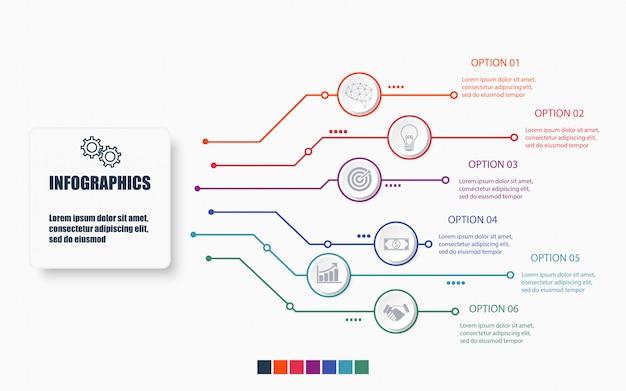 Infografische vorlage für technologie und geschäft mit 6 optionen