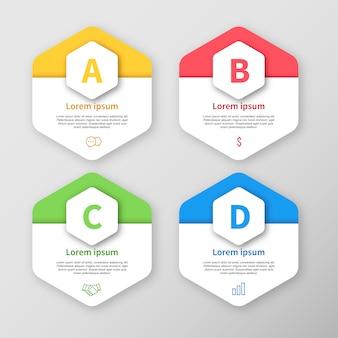 Infografische vorlage hexagon design