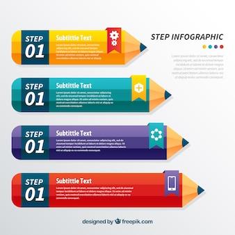 Infografische vorlage mit bleistiften