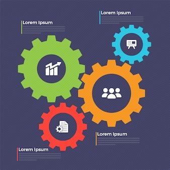 Infografische vorlage mit zahnrädern und web-symbolen.
