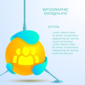 Infografisches abstraktes designkonzept mit orangefarbenem balltext und teamikone