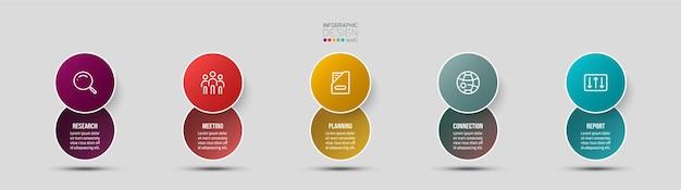 Infografisches design mit zwei schichten kreisen ein