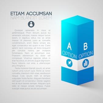 Infografisches designkonzept des webgeschäfts mit text und blauer quadratischer 3d-spalte und symbolen isoliert