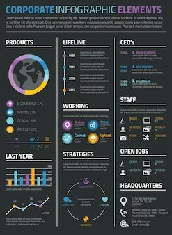 Infografisches geschäft und persönlicher lebenslauf lebenslauf auf schwarzem hintergrund