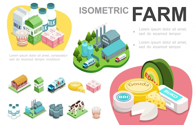 Infografisches konzept der isometrischen milchindustrie mit fabrikkäse-sauerrahmmilch-lkw-joghurt-kuhkefir