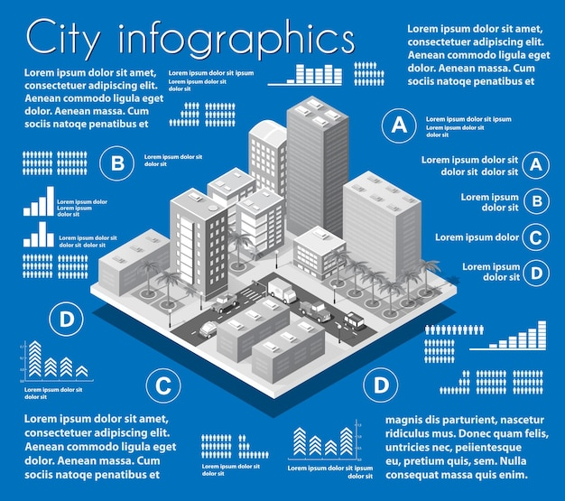 Infografisches set der isometrischen stadtplanindustrie Premium Vektoren
