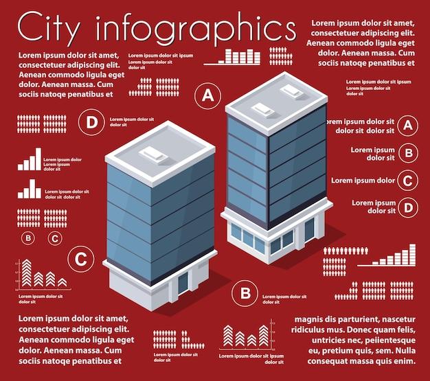 Infografisches set der isometrischen stadtplanindustrie
