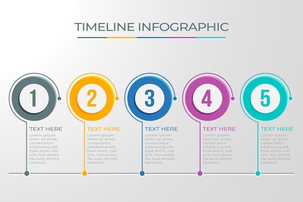 Infografisches zeitleisten-design mit kreisförmigen punkten