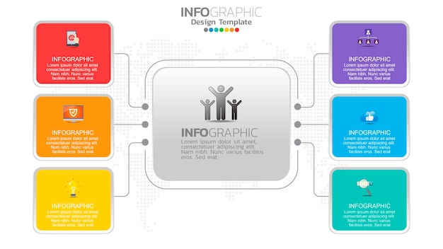 Infograph 6 schritt farbelement mit kreis grafik diagramm diagramm, business graph design.