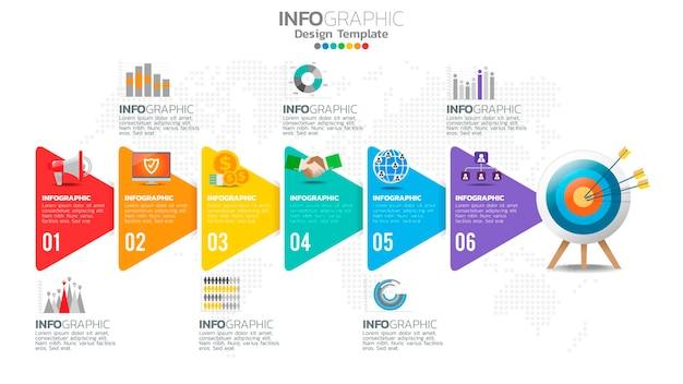 Infograph 6 schritt gelbes farbelement mit grafikdiagrammdiagramm, geschäftsdiagrammdesign.