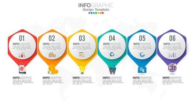 Infograph 6 schritte element mit zahlen- und diagrammdiagramm, geschäftsgraphendesign.