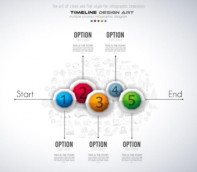 Infograph-vorlage mit fünf auswahlmöglichkeiten