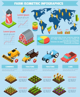 Infographic bericht der landwirtschaftsanlagen und der ausrüstung