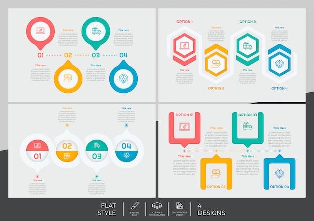 Infographic-bündel stellte mit moderner art und buntem konzept zum darstellungszweck, -geschäft und -marketing ein.