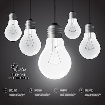Infographic creativeconcept design der glühlampe der bildung.