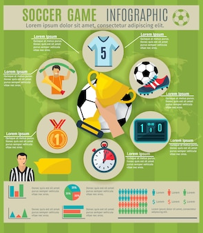 Infographic des fußballspiels stellte mit sporttrophäensymbolen und -diagrammen ein