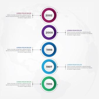 Infographic design der vertikalen timeline