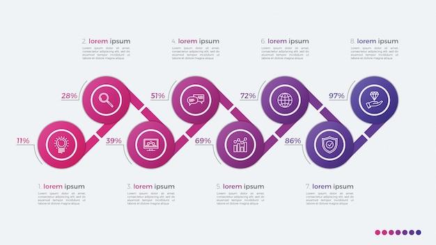 Infographic design des zeitachsenvektors mit ellipsen 8 schritte
