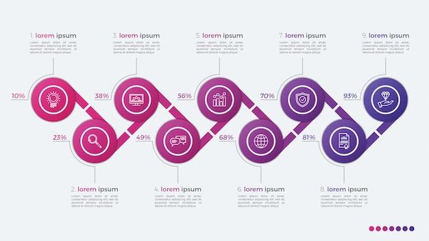 Infographic design des zeitachsenvektors mit ellipsen 9 schritte