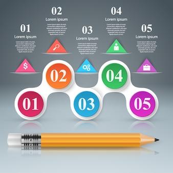 Infographic designschablone 3d und marketing-ikonen.