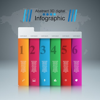 Infographic designschablone 3d und marketing-ikonen