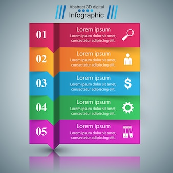 Infographic designschablone 3d und marketing-ikonen.