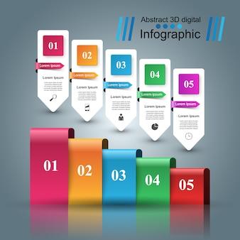 Infographic designschablone 3d und marketing-ikonen