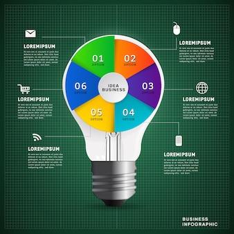 Infographic designschablone der glühlampenbildungsidee.