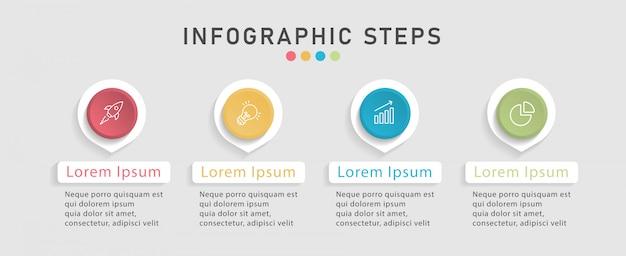 Infographic designschablone der zeitachse für arbeitsflussplan, diagramm. geschäftskonzept mit 4 optionen, schritten oder prozessen.