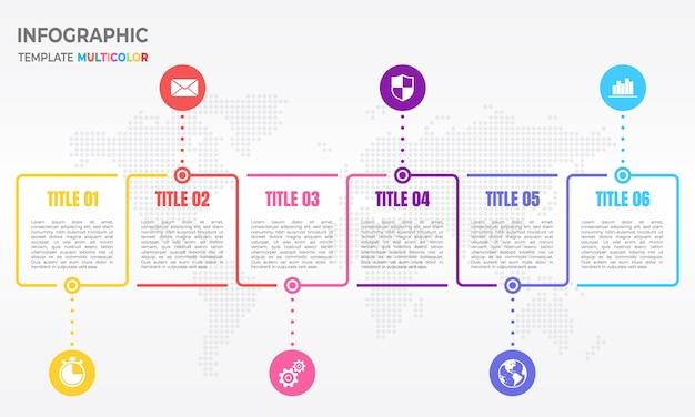 Infographic designschablone der zeitachse mit 6 wahlen