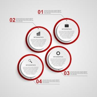Infographic designschablone des abstrakten kreises.