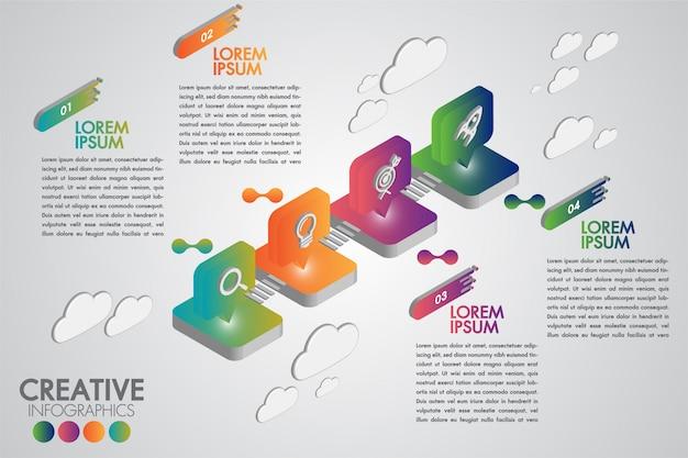 Infographic designschablone des kreativen geschäfts 4 schritte oder wahlen mit realistischem