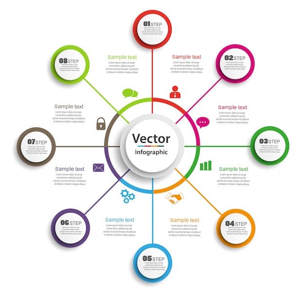 Infographic designschablone des kreises mit schritten 8 für geschäft