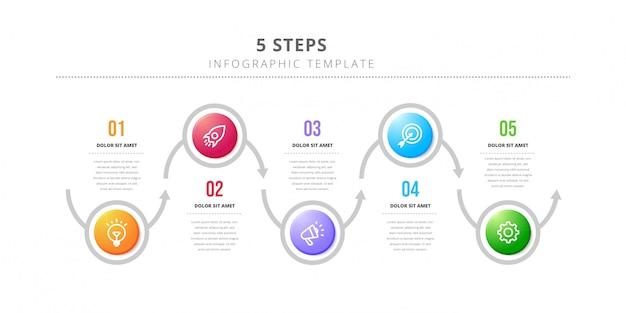 Infographic designschablone des vektors mit dem workflow mit 6 schritten