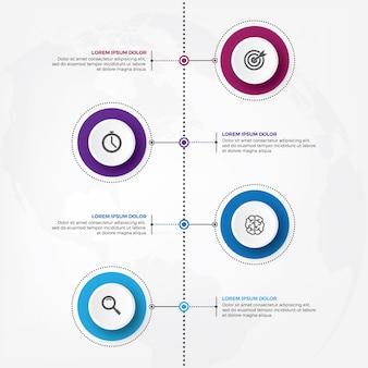 Infographic designvektor der vertikalen zeitachse mit ikone.