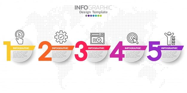 Infographic designvektor der zeitachse mit fünf schritten