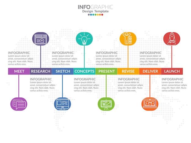 Infographic designvektor der zeitachse und marketing-ikonen