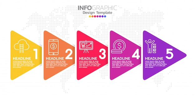 Infographic designvektor und -ikonen der zeitachse mit fünf schritten