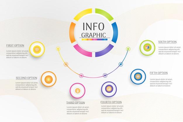 Infographic-diagramm der entwurfs-kreis-geschäftsschablone.