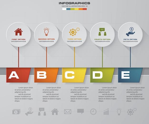 Infographic element der zeitachse mit 5 schritten.
