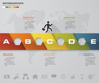 Infographic Element der Zeitachse mit 5 Schritten