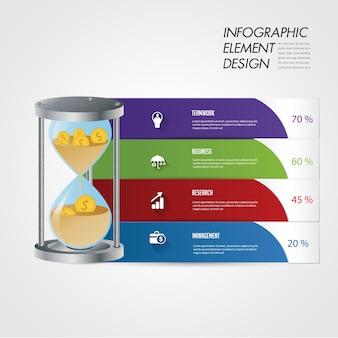 Infographic element des hourglassymbol-diagramms.