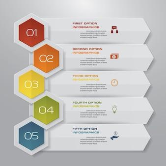 Infographic element des pfeiles mit 5 schritten für darstellung.
