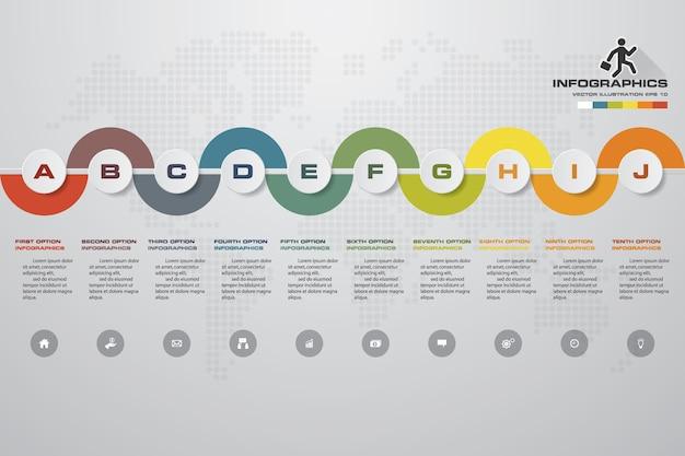 Infographic element mit 10 schritten zeitachse für darstellung