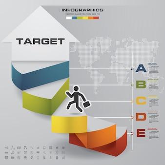 Infographic element mit 5 schritten treppe für darstellung