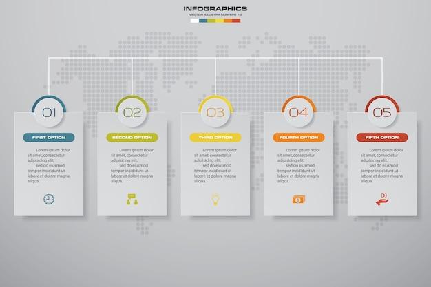 Infographic element mit 5 schritten zeitachse.