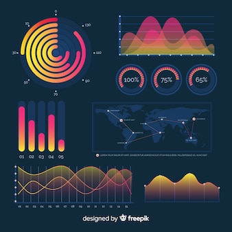 Infographic elementarmaturenbrett der dunklen steigung