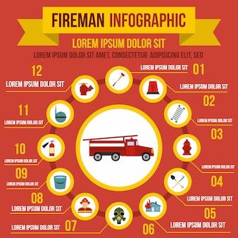 Infographic elemente der brandbekämpfung in der flachen art für jedes mögliches design